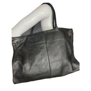 Levenger Womens Black Tote Leather Laptop Bag